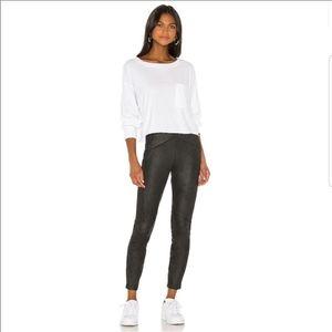 FREE PEOPLE black faux suede elastic waist pants